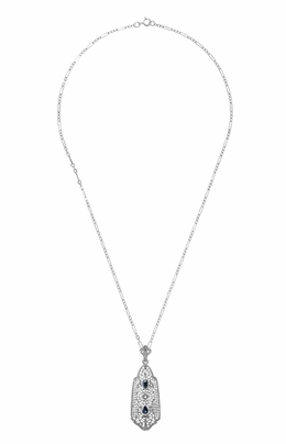 Art Deco Filigree Sapphire and Diamond Pendant Necklace in Sterling Silver - Item N116 - Image 2