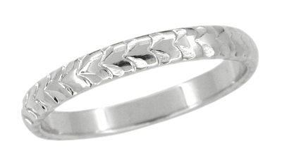 Palm Leaves Carved Wedding Ring in 14 Karat White Gold - 3mm