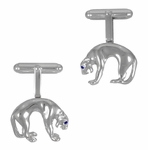 Panther Cufflinks in Sterling Silver with Sapphire Eyes