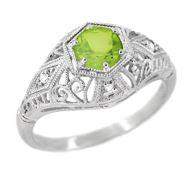 Peridot and Diamonds Filigree Scroll Dome Edwardian Engagement Ring in 14 Karat White Gold