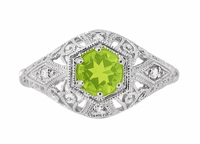 Peridot and Diamonds Filigree Scroll Dome Edwardian Engagement Ring in 14 Karat White Gold - Item R139PER - Image 1