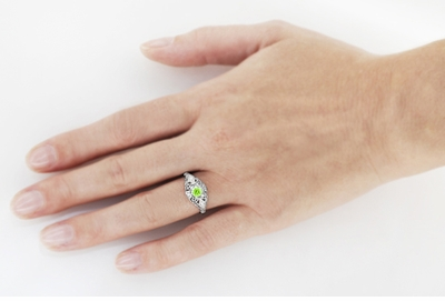 Peridot and Diamonds Filigree Scroll Dome Edwardian Engagement Ring in 14 Karat White Gold - Item R139PER - Image 3