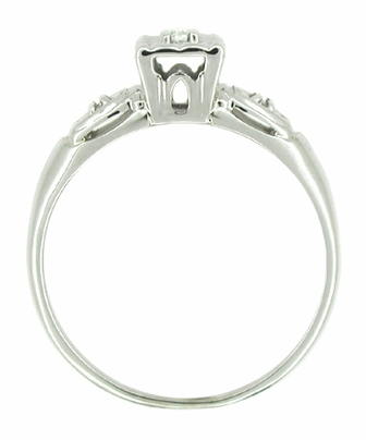 Petite Retro Moderne Lucky Clover Diamond Antique Engagement Ring in 14K White Gold - Item R218 - Image 1