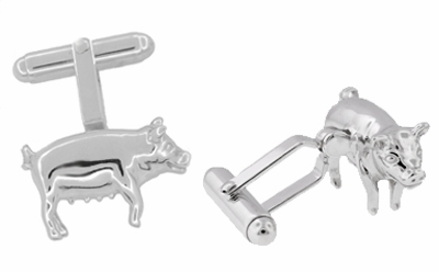 Pig Cufflinks in Sterling Silver - Item SCL181 - Image 1