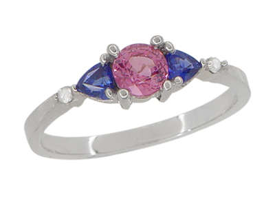 Pink and Blue Sapphire Love Ring with Diamonds in 10 Karat White Gold