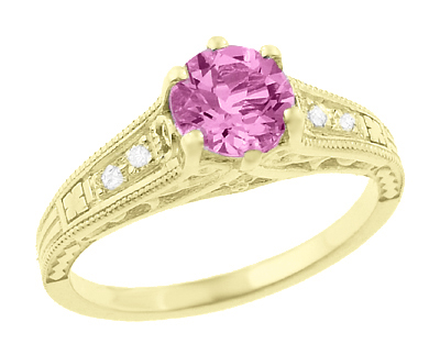 Antique Style Pink Sapphire and Diamonds Filigree Art Deco Engagement Ring in 14 Karat Yellow Gold