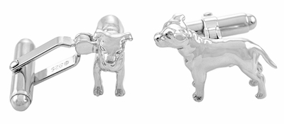 Pit Bull Cufflinks in Sterling Silver - Item SCL156 - Image 1