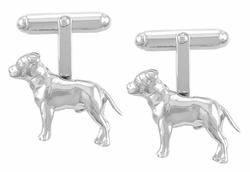 Pit Bull Cufflinks in Sterling Silver