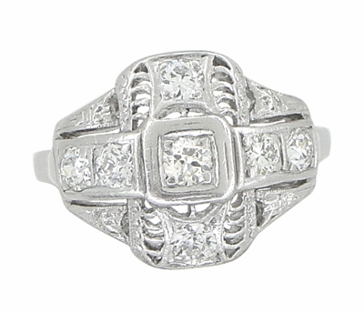 Platinum Art Deco Filigree Cross Diamond Antique Engagement Ring - Item R867 - Image 1