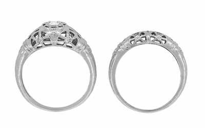 Platinum Art Deco Filigree Diamond Engagement Ring - Item R428P - Image 8