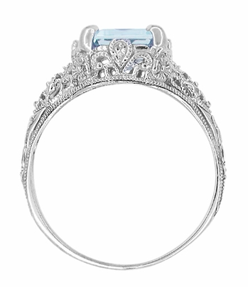 Platinum Filigree Emerald Cut Aquamarine Edwardian Engagement Ring - Item R618P - Image 3
