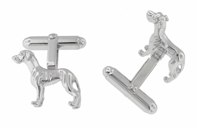 Pointer Dog Cufflinks in Sterling Silver - Item SCL201 - Image 1