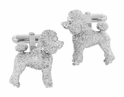 Poodle Cufflinks in Sterling Silver - Item SCL234W - Image 3