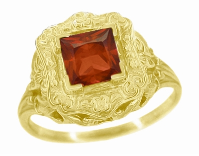 Princess Cut Garnet Art Nouveau Ring in 14 Karat Yellow Gold - Item R615YG - Image 1