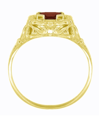 Princess Cut Garnet Art Nouveau Ring in 14 Karat Yellow Gold - Item R615YG - Image 3