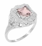 Princess Cut Morganite Art Nouveau Ring in 14 Karat White Gold
