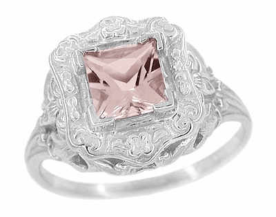 Princess Cut Morganite Art Nouveau Ring in 14 Karat White Gold - Item R615WM - Image 1