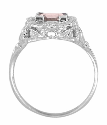 Princess Cut Morganite Art Nouveau Ring in 14 Karat White Gold - Item R615WM - Image 3