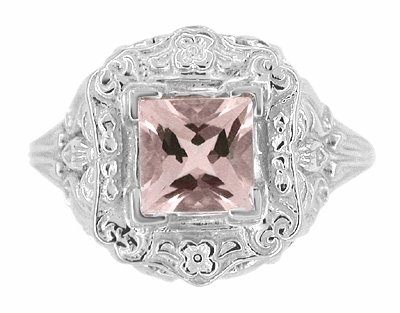 Princess Cut Morganite Art Nouveau Ring in 14 Karat White Gold - Item R615WM - Image 4