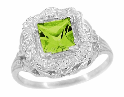 Princess Cut Peridot Art Nouveau Ring in 14 Karat White Gold - Item R615WPER - Image 1