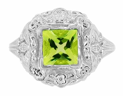 Princess Cut Peridot Art Nouveau Ring in 14 Karat White Gold - Item R615WPER - Image 4