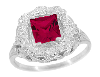 Princess Cut Ruby Art Nouveau Ring in Sterling Silver
