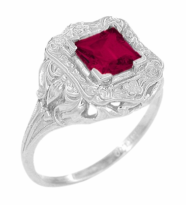 Princess Cut Ruby Art Nouveau Ring in Sterling Silver - Item SSR615R - Image 1