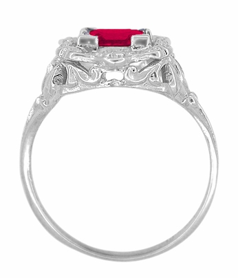 Princess Cut Ruby Art Nouveau Ring in Sterling Silver - Item SSR615R - Image 3