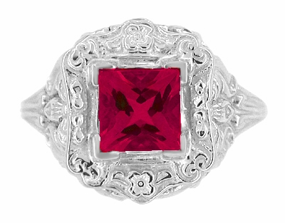 Princess Cut Ruby Art Nouveau Ring in Sterling Silver - Item SSR615R - Image 4