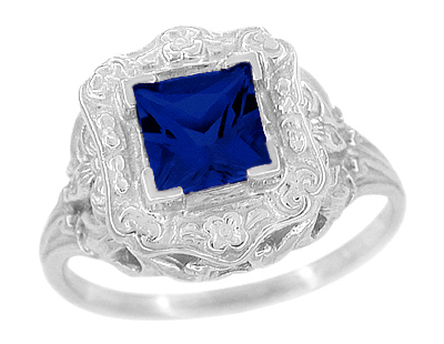 Art Nouveau Princess Cut Sapphire Ring in Sterling Silver