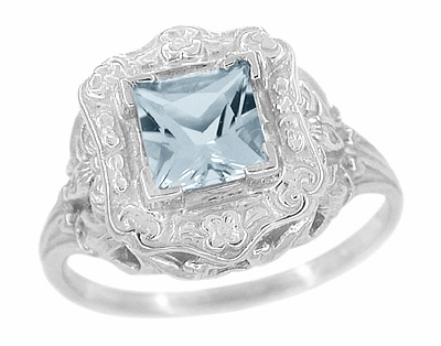 Princess Cut Sky Blue Topaz Art Nouveau Ring in Sterling Silver - Item SSR615BT - Image 1