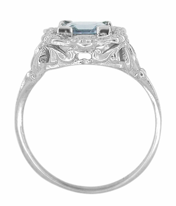 Princess Cut Sky Blue Topaz Art Nouveau Ring in Sterling Silver - Item SSR615BT - Image 4