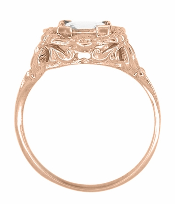Princess Cut White Topaz Art Nouveau Ring in 14 Karat Rose Gold - Item R615RWT - Image 2