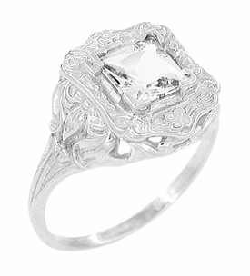Art Nouveau Square White Topaz Ring in Sterling Silver - Item SSR615WT - Image 1