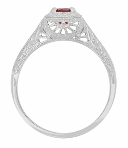 Pyrope Garnet Filigree Scrolls Engraved Ring in 14 Karat White Gold - Item R183WPG - Image 1
