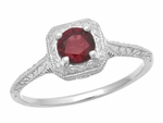 Pyrope Garnet Filigree Scrolls Engraved Ring in 14 Karat White Gold