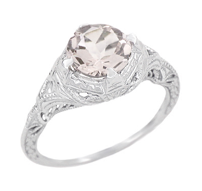 Art Deco Engraved Filigree Morganite Engagement Ring in 14 Karat White Gold | Heirloom Vintage Design