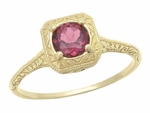Art Deco Rhodolite Garnet Filigree Scrolls Engraved Engagement Ring in 14 Karat Yellow Gold