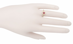 Art Deco Rhodolite Garnet Filigree Scrolls Engraved Engagement Ring in 14 Karat Yellow Gold - Item R182 - Image 3