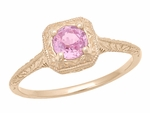 Filigree Scrolls Engraved Pink Sapphire Engagement  Ring in 14 Karat Rose ( Pink ) Gold