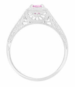 Filigree Scrolls Engraved Pink Sapphire Engagement Ring in 14 Karat White Gold - Item R183WPS - Image 1