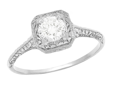 Filigree Scrolls Engraved White Sapphire Engagement Ring in 14 Karat White Gold