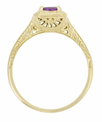 Art Deco Amethyst Filigree Scrolls Engraved Engagement Ring in 14 Karat Yellow Gold - Item R183YAM - Image 1