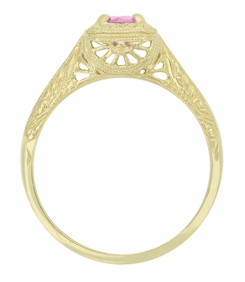 Filigree Scrolls Engraved Pink Sapphire Engagement Ring in 14 Karat Yellow Gold - Item R183YPS - Image 1