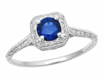 Filigree Scrolls Engraved Art Deco Blue Sapphire Engagement Ring in 14 Karat White Gold