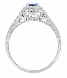 Filigree Scrolls Engraved Art Deco Blue Sapphire Engagement Ring in 14 Karat White Gold - Item R184 - Image 1