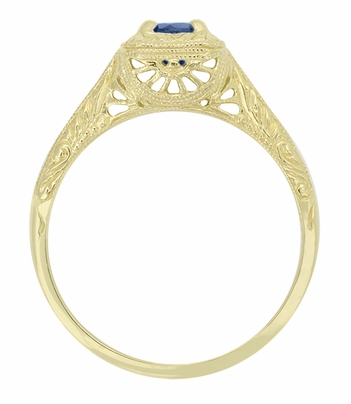 Filigree Scrolls Engraved Sapphire Engagement Ring in 14 Karat Yellow Gold - Item R184Y - Image 1
