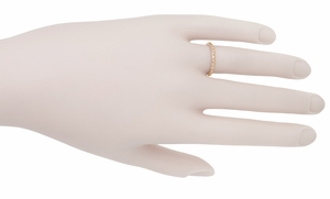 Art Deco Thin Engraved Wheat Wedding Band in 14 Karat Rose ( Pink ) Gold - Item R241R - Image 1