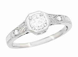 Art Deco Filigree Platinum and Diamond Engagement Ring