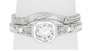Filigree Diamond Art Deco Engagement Ring in 18 Karat White Gold - Item R298WD - Image 4